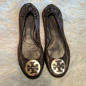 Tory Burch Brown Leather Minnie Flats